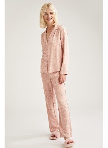 Defacto –Fit Egzotik Çiçek Baskılı Gömlek Tasarımlı Pijama Takımı Bordo